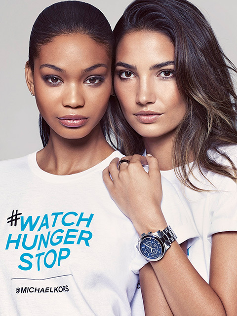 Chanel Iman and Lily Aldridge support 'Watch Hunger Stop'.